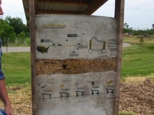 Information graphic design on the back of a straw bale bench